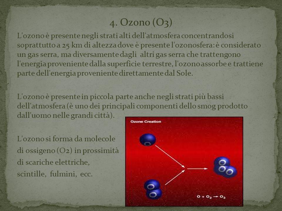 4. Ozono (O3) L'ozono è presente negli strati alti dell'atmosfera concentrandosi soprattutto a 25 km di altezza dove è presente l'ozonosfera: è consid