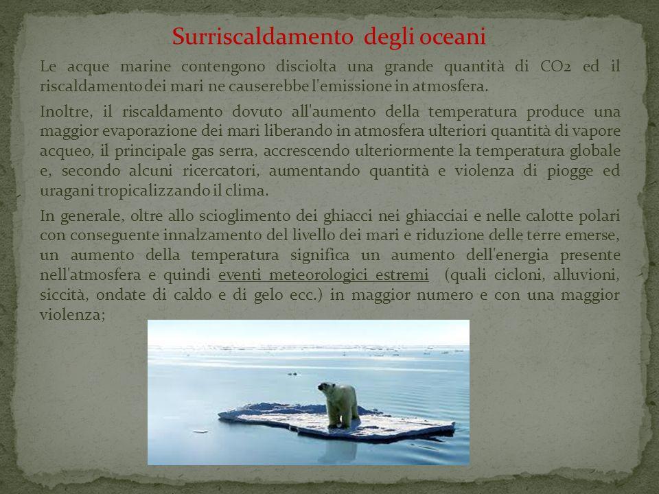 Surriscaldamento degli oceani Le acque marine contengono disciolta una grande quantità di CO2 ed il riscaldamento dei mari ne causerebbe l'emissione i