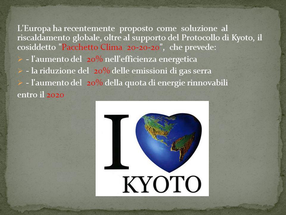 L'Europa ha recentemente proposto come soluzione al riscaldamento globale, oltre al supporto del Protocollo di Kyoto, il cosiddetto
