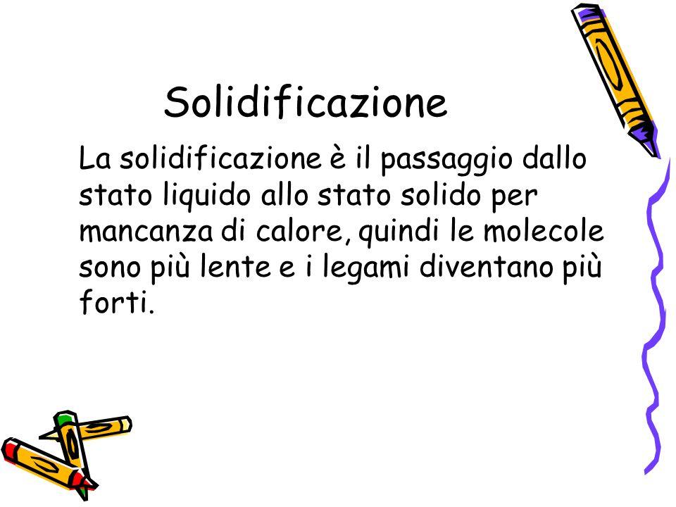 Solidificazione La solidificazione è il passaggio dallo stato liquido allo stato solido per mancanza di calore, quindi le molecole sono più lente e i