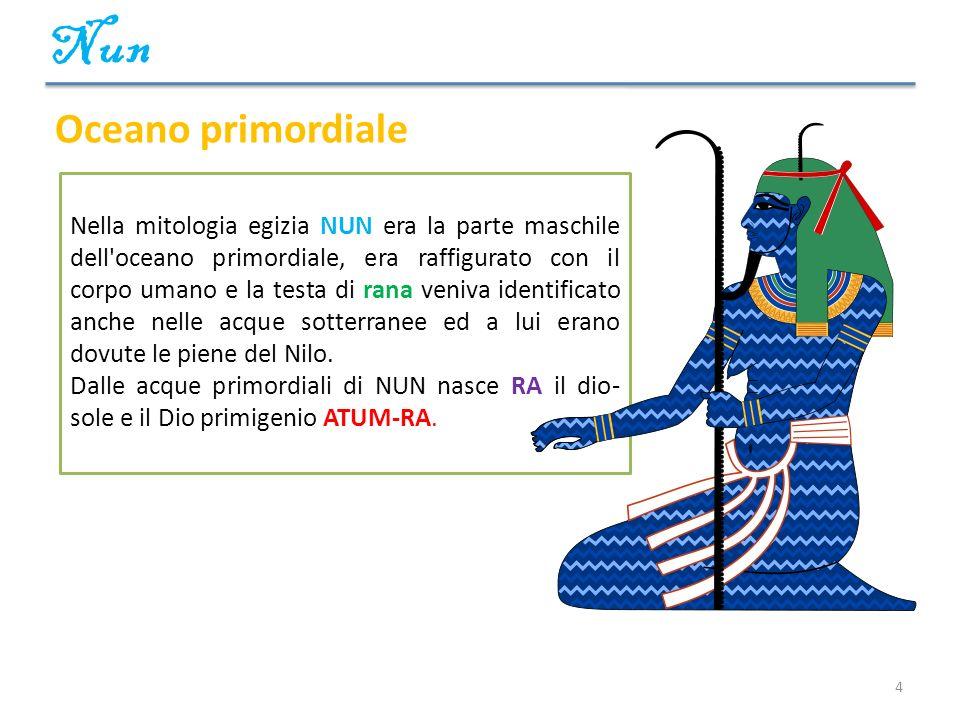4 Nella mitologia egizia NUN era la parte maschile dell'oceano primordiale, era raffigurato con il corpo umano e la testa di rana veniva identificato