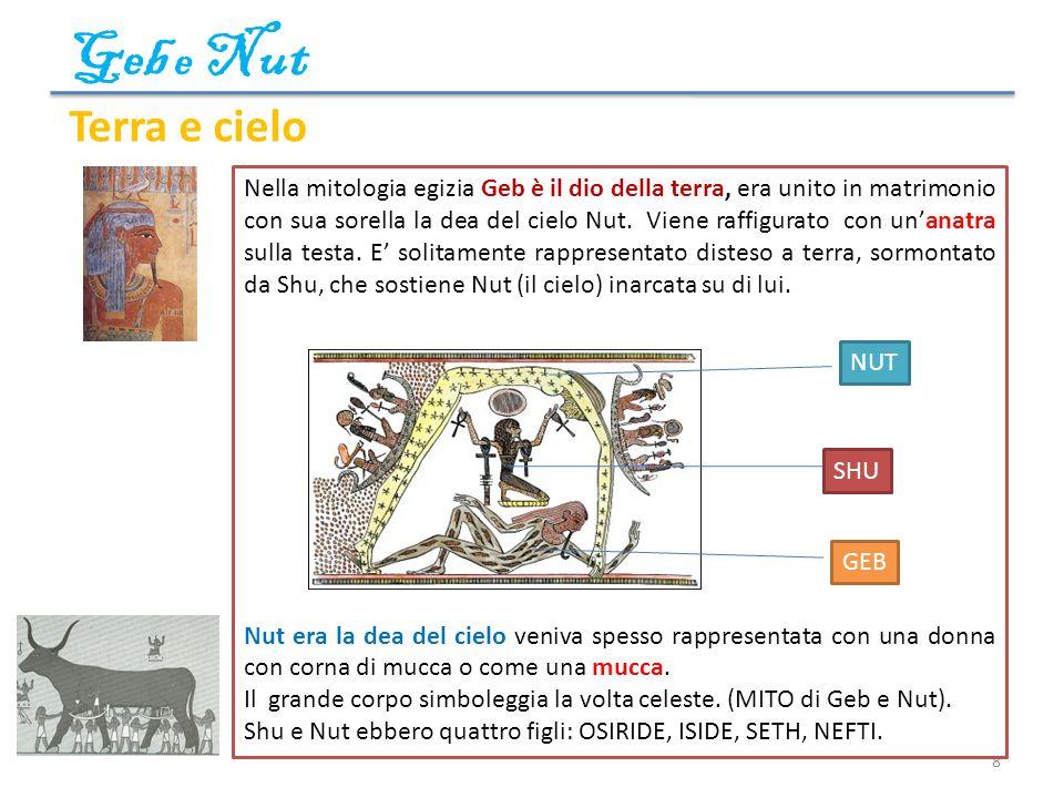 Geb e Nut 8 Terra e cielo Nella mitologia egizia Geb è il dio della terra, era unito in matrimonio con sua sorella la dea del cielo Nut. Viene raffigu