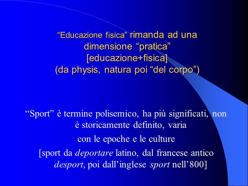 Educazione fisica rimanda ad una dimensione pratica [educazione+fisica] (da physis, natura poi del corpo) Sport è termine polisemico, ha più significa