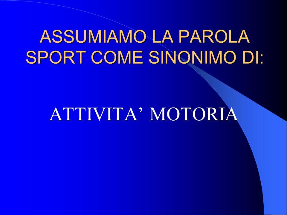 ASSUMIAMO LA PAROLA SPORT COME SINONIMO DI: ATTIVITA MOTORIA