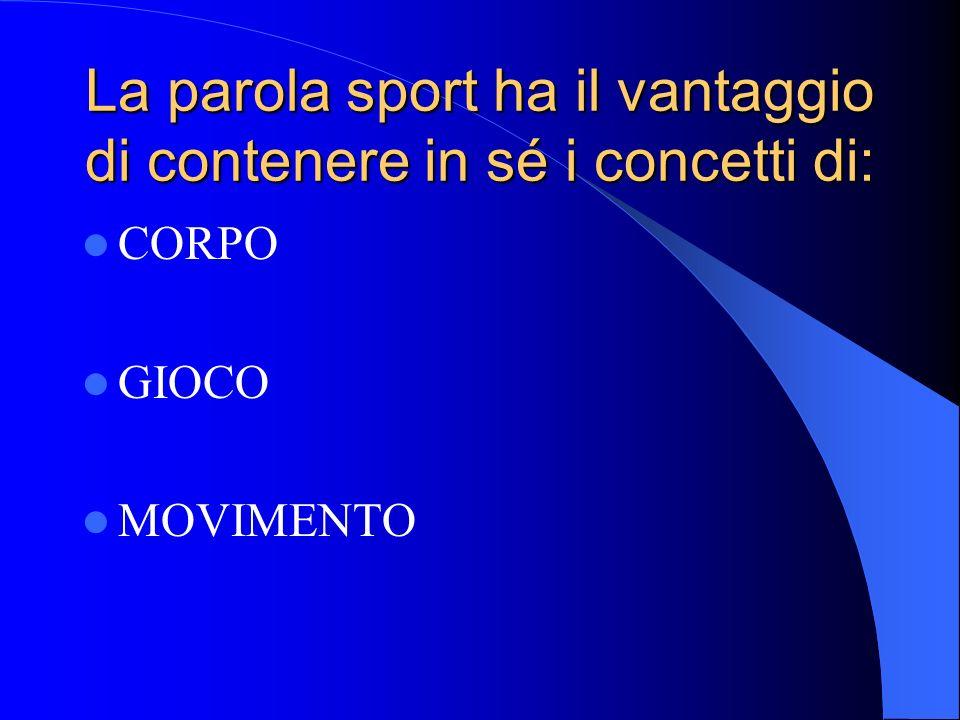 La parola sport ha il vantaggio di contenere in sé i concetti di: CORPO GIOCO MOVIMENTO