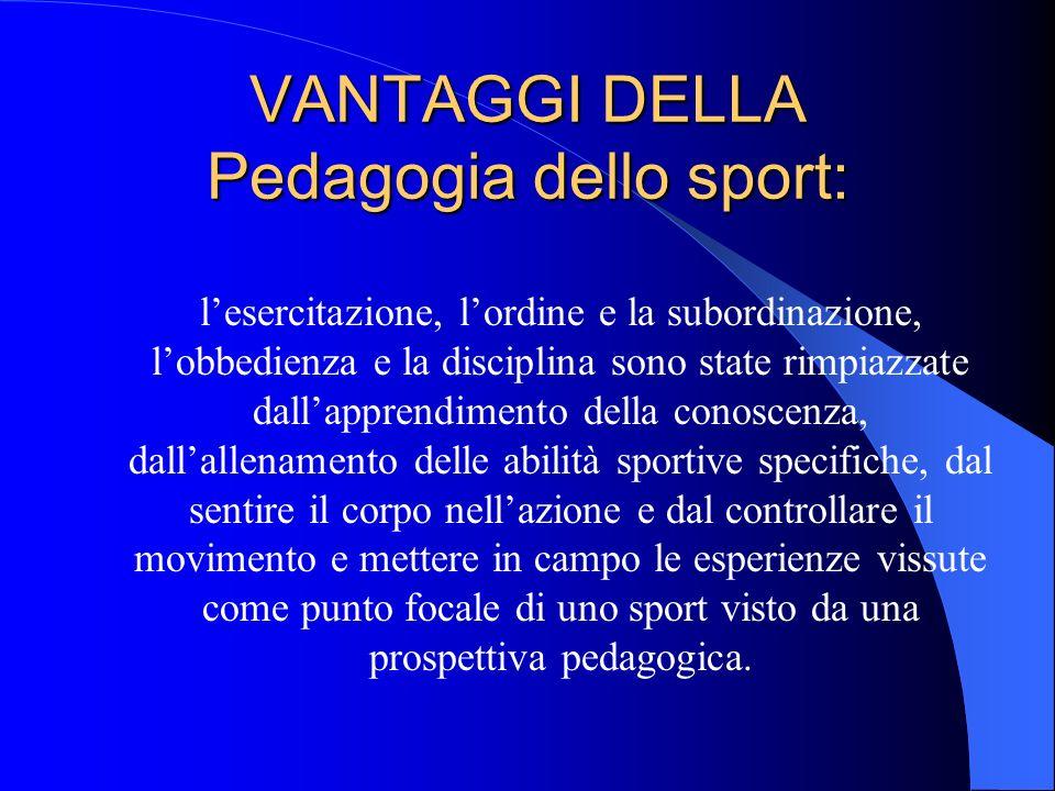 VANTAGGI DELLA Pedagogia dello sport: lesercitazione, lordine e la subordinazione, lobbedienza e la disciplina sono state rimpiazzate dallapprendiment
