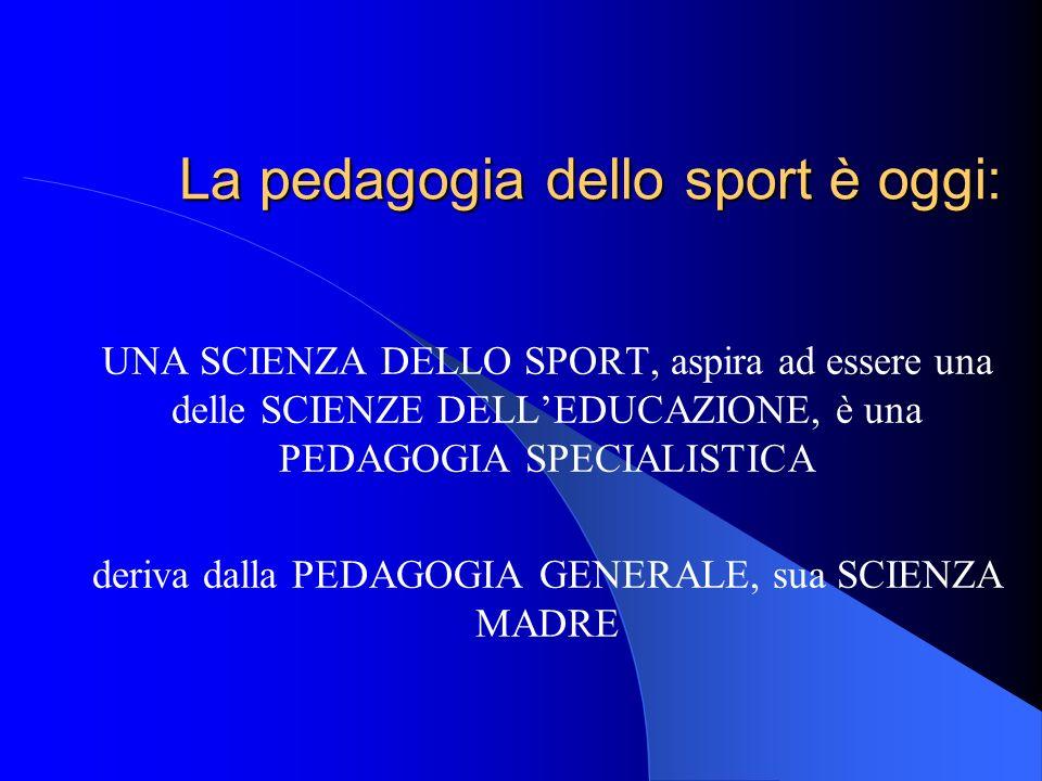 La pedagogia dello sport è oggi: UNA SCIENZA DELLO SPORT, aspira ad essere una delle SCIENZE DELLEDUCAZIONE, è una PEDAGOGIA SPECIALISTICA deriva dall