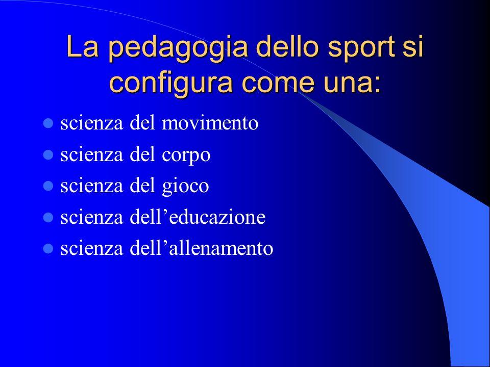La pedagogia dello sport si configura come una: scienza del movimento scienza del corpo scienza del gioco scienza delleducazione scienza dellallenamen