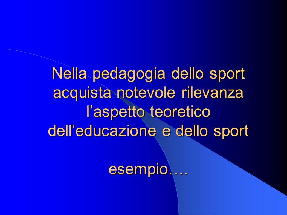 Nella pedagogia dello sport acquista notevole rilevanza laspetto teoretico delleducazione e dello sport esempio….