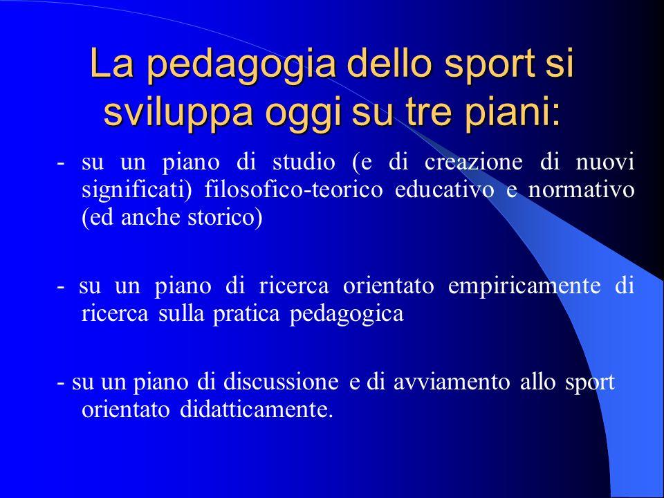 La pedagogia dello sport si sviluppa oggi su tre piani: - su un piano di studio (e di creazione di nuovi significati) filosofico-teorico educativo e n