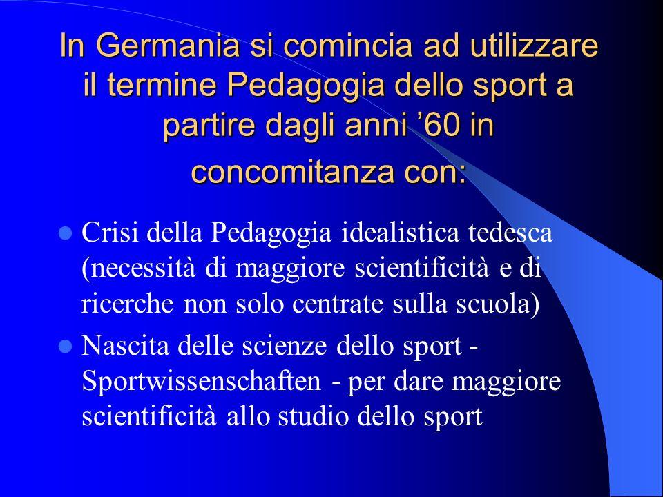 In Germania si comincia ad utilizzare il termine Pedagogia dello sport a partire dagli anni 60 in concomitanza con: Crisi della Pedagogia idealistica