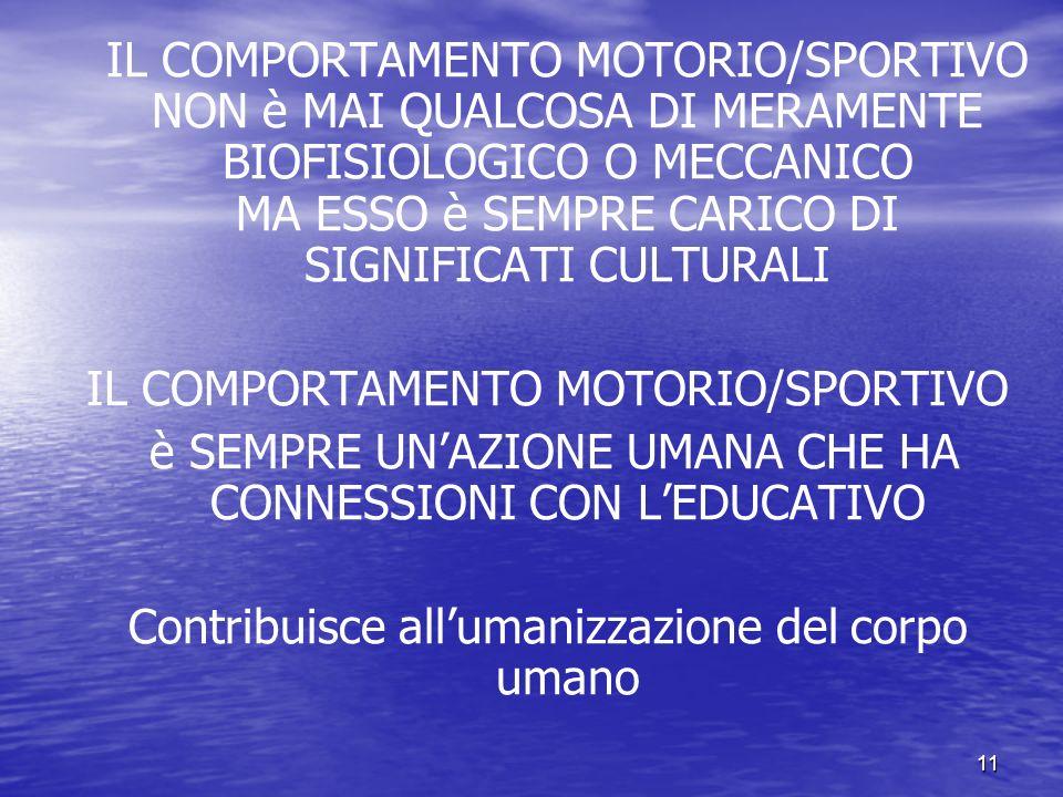 11 IL COMPORTAMENTO MOTORIO/SPORTIVO NON è MAI QUALCOSA DI MERAMENTE BIOFISIOLOGICO O MECCANICO MA ESSO è SEMPRE CARICO DI SIGNIFICATI CULTURALI IL COMPORTAMENTO MOTORIO/SPORTIVO è SEMPRE UNAZIONE UMANA CHE HA CONNESSIONI CON LEDUCATIVO Contribuisce allumanizzazione del corpo umano