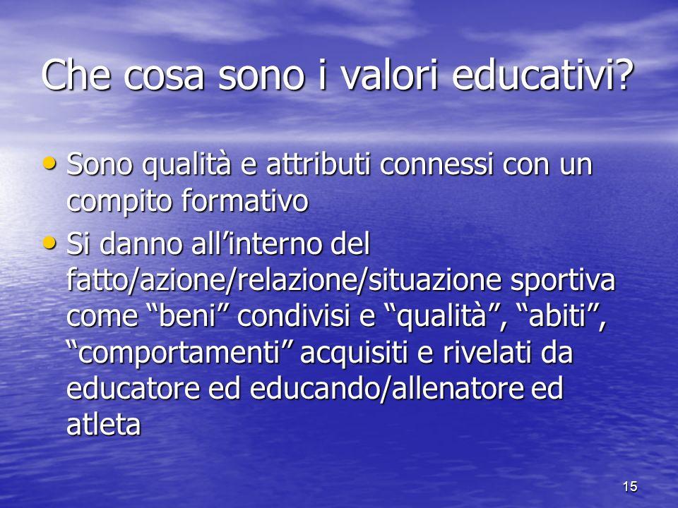 15 Che cosa sono i valori educativi.