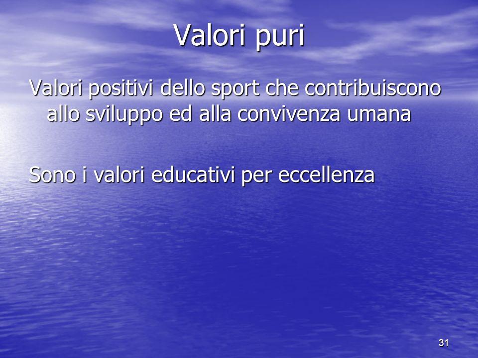31 Valori puri Valori positivi dello sport che contribuiscono allo sviluppo ed alla convivenza umana Sono i valori educativi per eccellenza