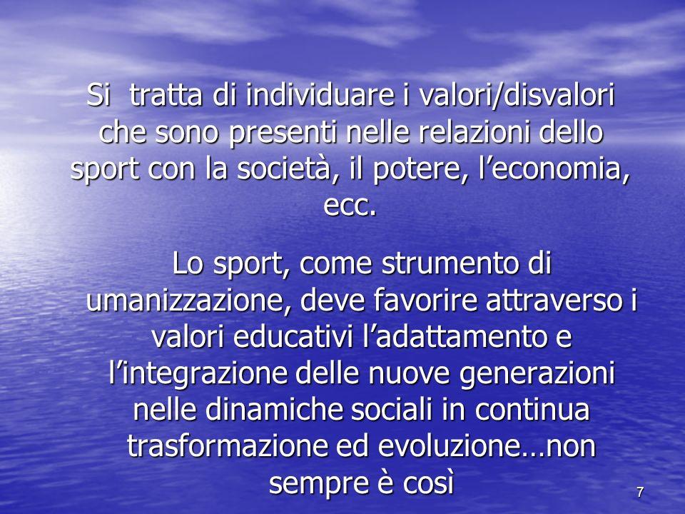 7 Si tratta di individuare i valori/disvalori che sono presenti nelle relazioni dello sport con la società, il potere, leconomia, ecc.