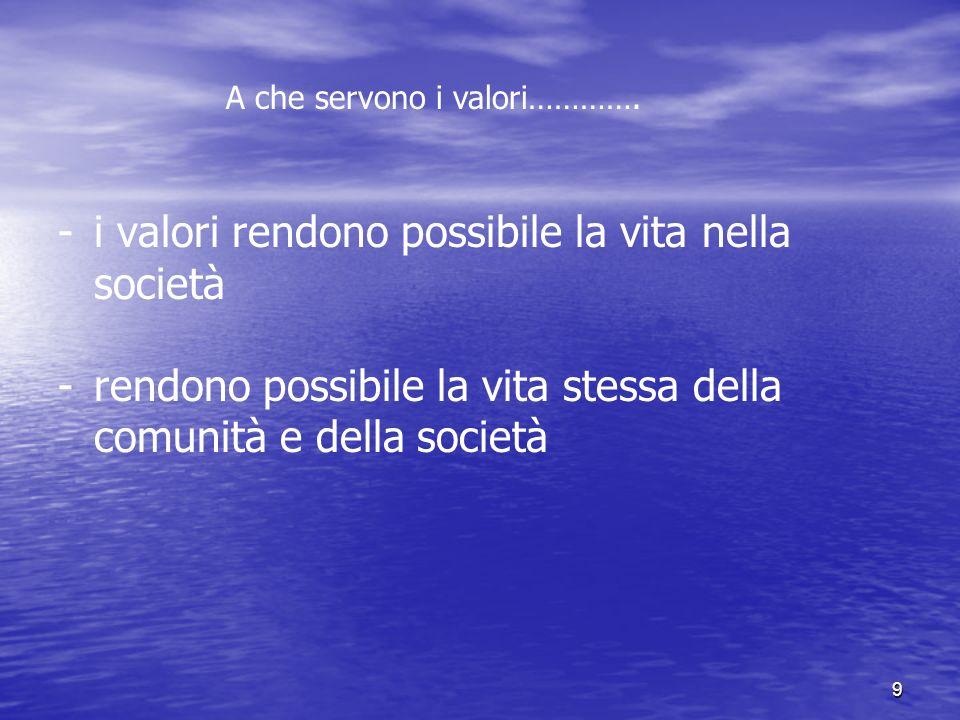 9 - -i valori rendono possibile la vita nella società - rendono possibile la vita stessa della comunità e della società A che servono i valori………….