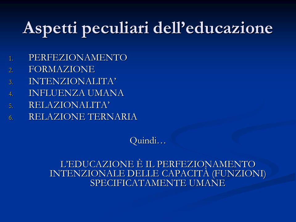 Aspetti peculiari delleducazione 1. PERFEZIONAMENTO 2. FORMAZIONE 3. INTENZIONALITA 4. INFLUENZA UMANA 5. RELAZIONALITA 6. RELAZIONE TERNARIA Quindi…