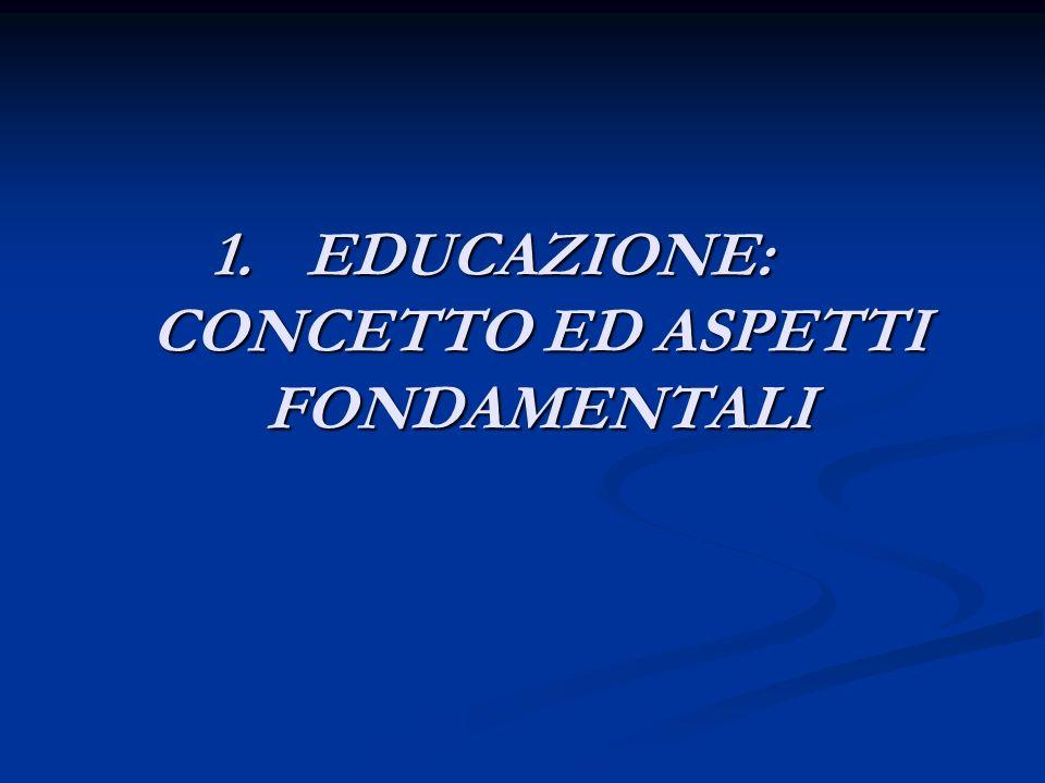 1.EDUCAZIONE: CONCETTO ED ASPETTI FONDAMENTALI