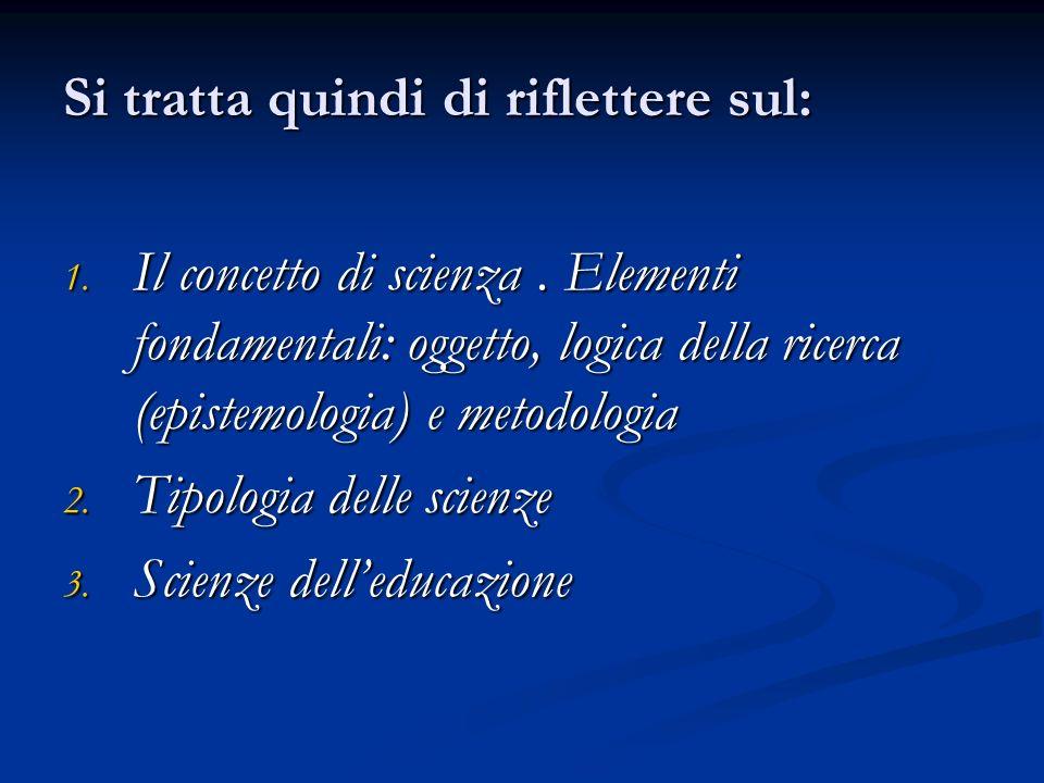 Si tratta quindi di riflettere sul: 1. Il concetto di scienza. Elementi fondamentali: oggetto, logica della ricerca (epistemologia) e metodologia 2. T