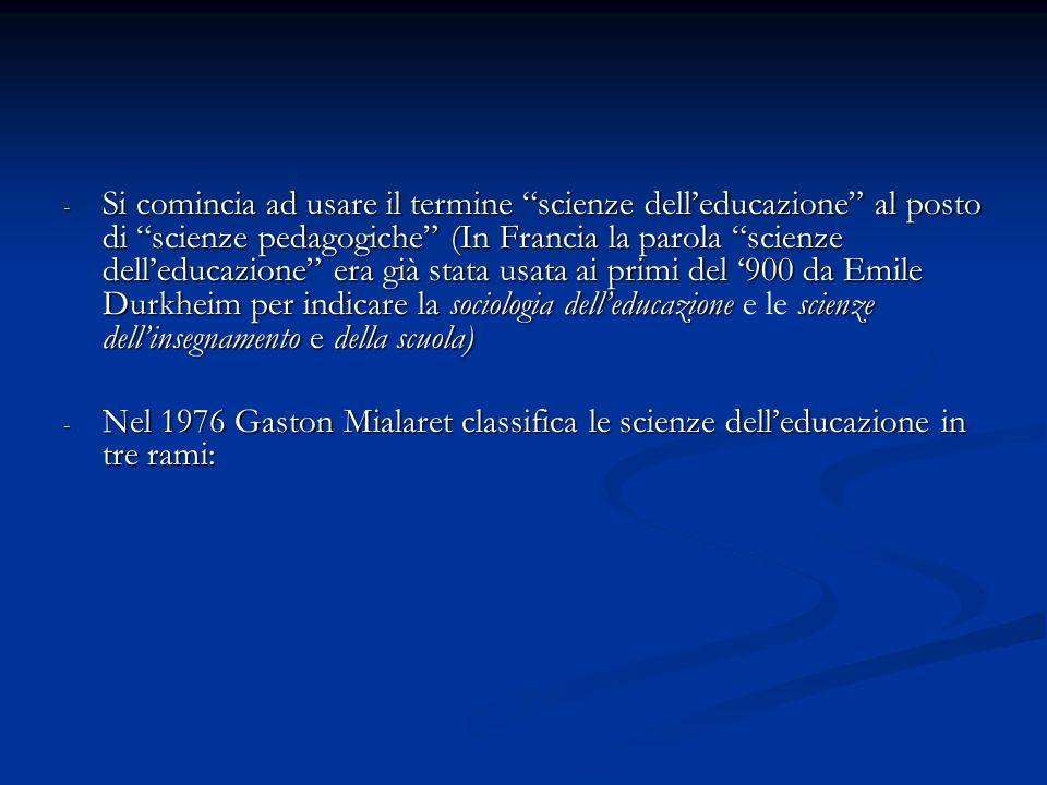 - Si comincia ad usare il termine scienze delleducazione al posto di scienze pedagogiche (In Francia la parola scienze delleducazione era già stata us