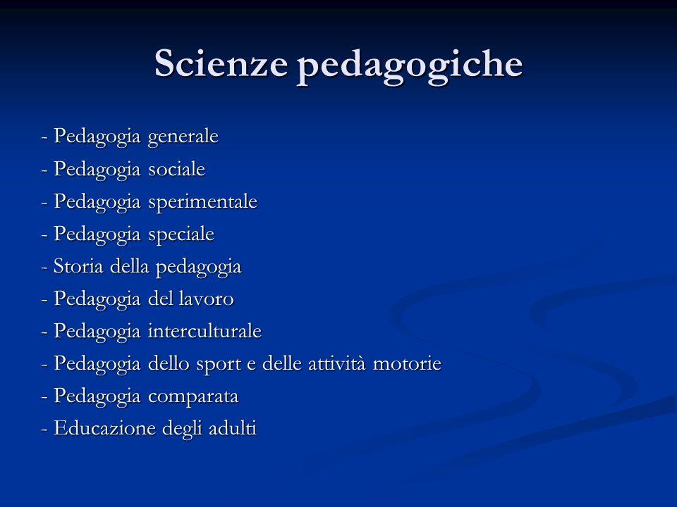 Scienze pedagogiche - Pedagogia generale - Pedagogia sociale - Pedagogia sperimentale - Pedagogia speciale - Storia della pedagogia - Pedagogia del la