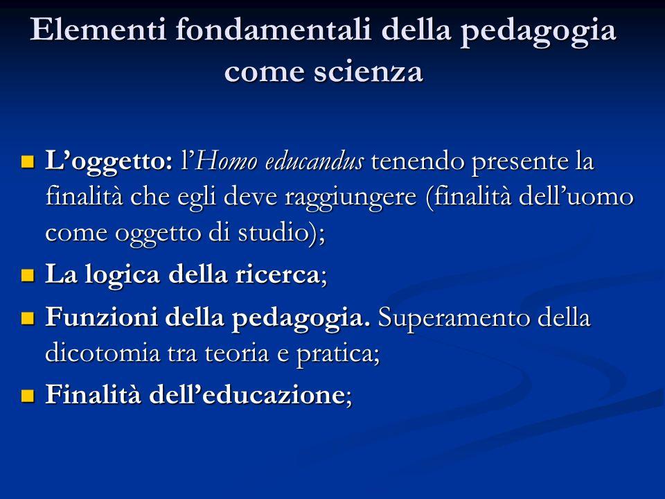 Elementi fondamentali della pedagogia come scienza Loggetto: lHomo educandus tenendo presente la finalità che egli deve raggiungere (finalità delluomo