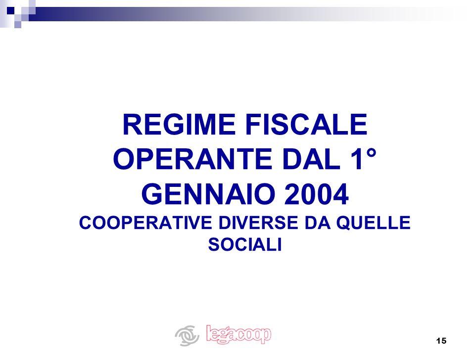 15 REGIME FISCALE OPERANTE DAL 1° GENNAIO 2004 COOPERATIVE DIVERSE DA QUELLE SOCIALI