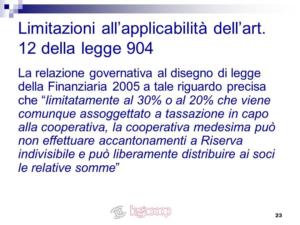 23 Limitazioni allapplicabilità dellart. 12 della legge 904 La relazione governativa al disegno di legge della Finanziaria 2005 a tale riguardo precis