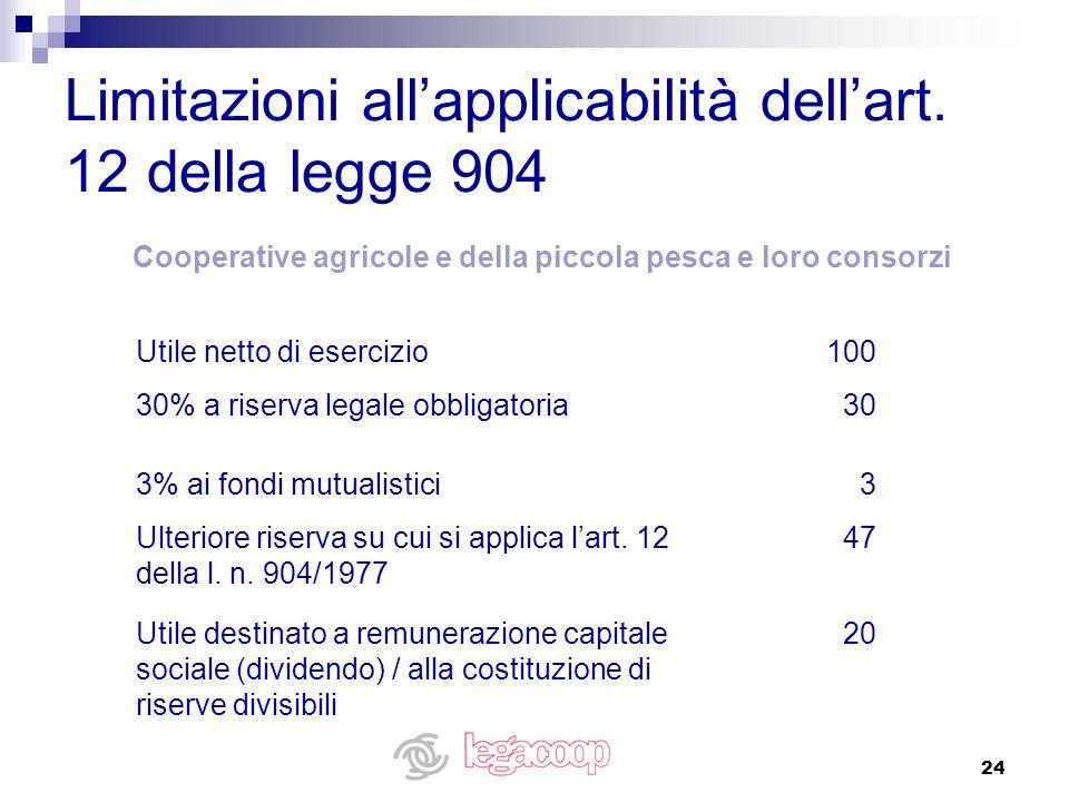 24 Limitazioni allapplicabilità dellart. 12 della legge 904 20Utile destinato a remunerazione capitale sociale (dividendo) / alla costituzione di rise
