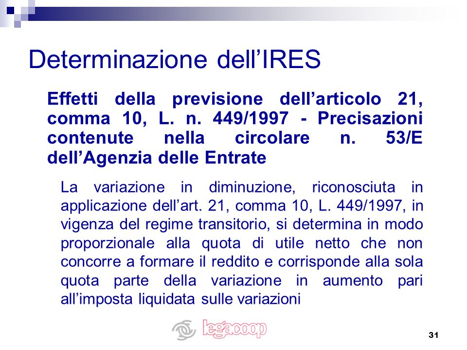 31 Effetti della previsione dellarticolo 21, comma 10, L. n. 449/1997 - Precisazioni contenute nella circolare n. 53/E dellAgenzia delle Entrate La va