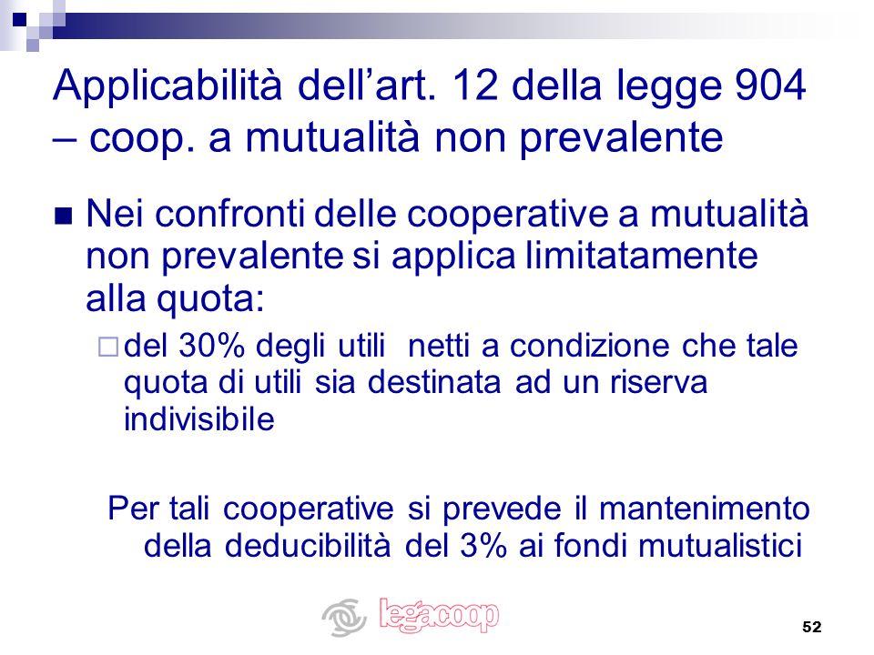 52 Applicabilità dellart. 12 della legge 904 – coop. a mutualità non prevalente Nei confronti delle cooperative a mutualità non prevalente si applica