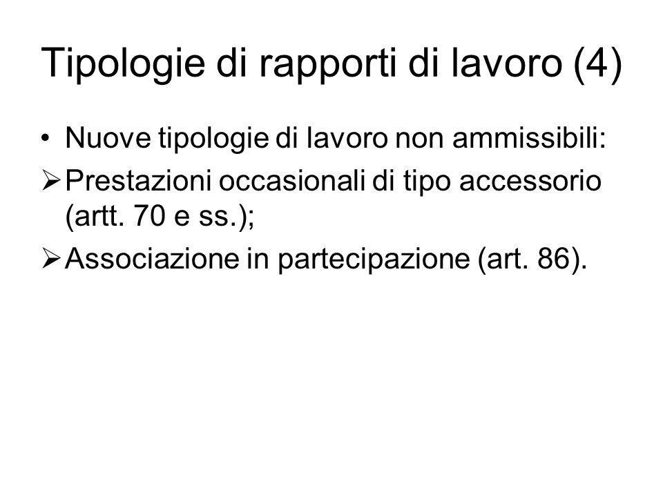 Tipologie di rapporti di lavoro (4) Nuove tipologie di lavoro non ammissibili: Prestazioni occasionali di tipo accessorio (artt. 70 e ss.); Associazio
