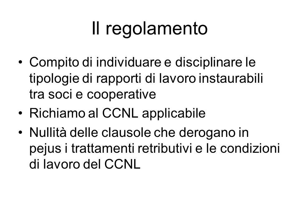 Il regolamento Compito di individuare e disciplinare le tipologie di rapporti di lavoro instaurabili tra soci e cooperative Richiamo al CCNL applicabi