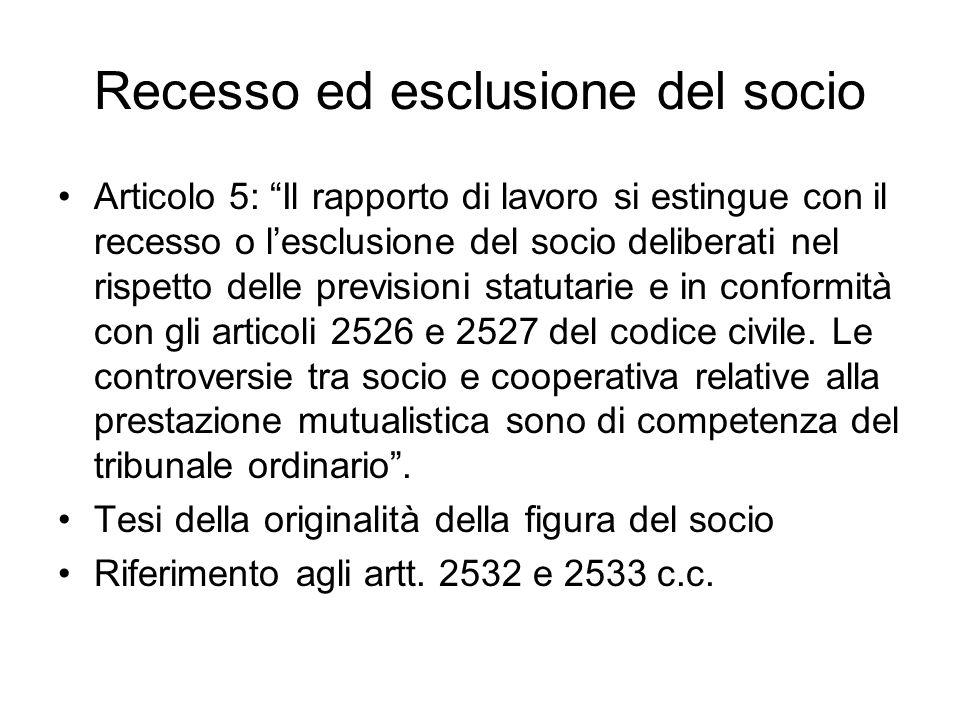 Recesso ed esclusione del socio Articolo 5: Il rapporto di lavoro si estingue con il recesso o lesclusione del socio deliberati nel rispetto delle pre