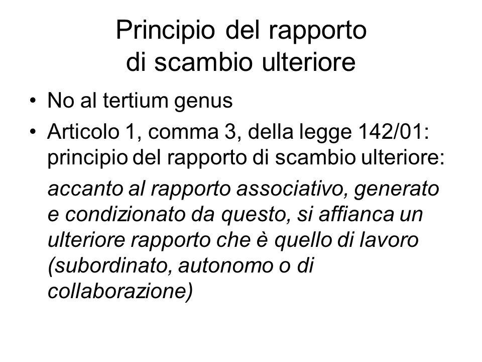 Principio del rapporto di scambio ulteriore No al tertium genus Articolo 1, comma 3, della legge 142/01: principio del rapporto di scambio ulteriore: