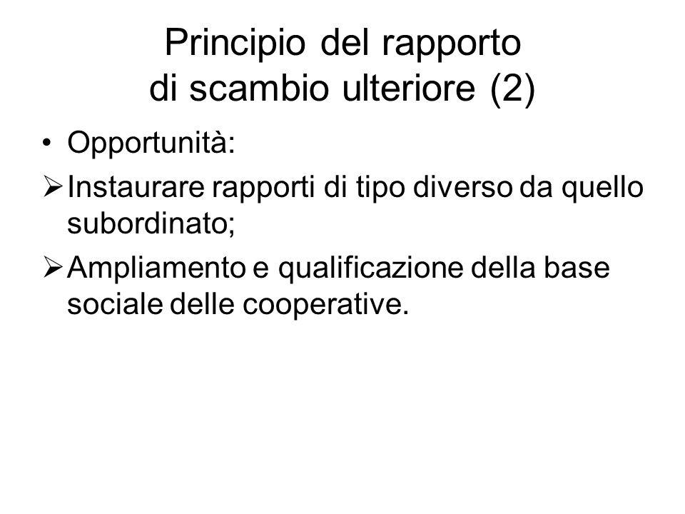 Principio del rapporto di scambio ulteriore (2) Opportunità: Instaurare rapporti di tipo diverso da quello subordinato; Ampliamento e qualificazione d