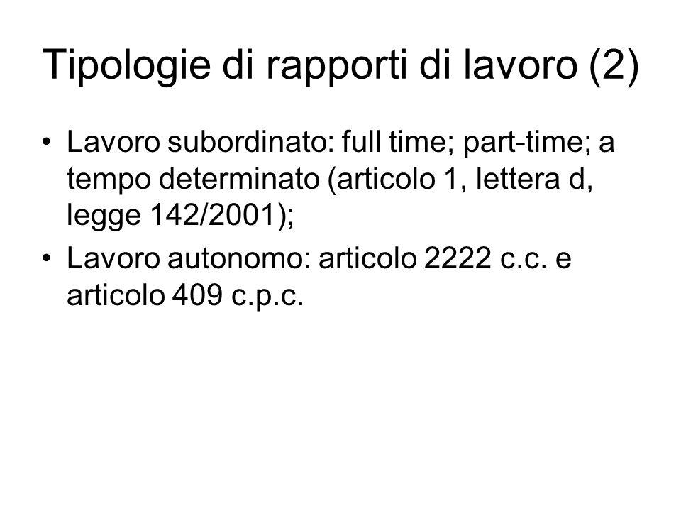 Tipologie di rapporti di lavoro (2) Lavoro subordinato: full time; part-time; a tempo determinato (articolo 1, lettera d, legge 142/2001); Lavoro auto