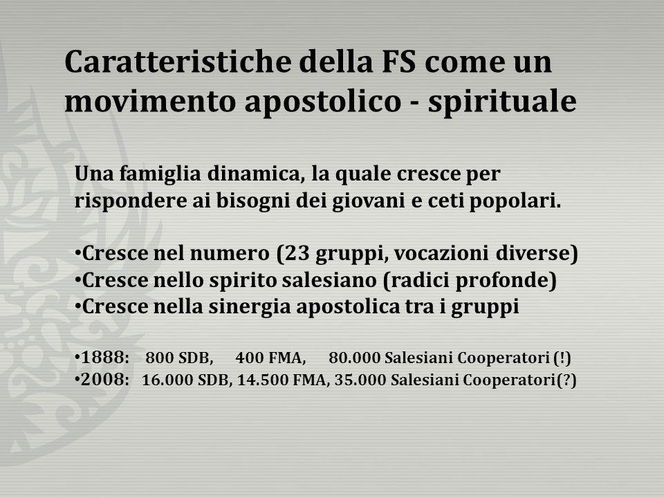 Caratteristiche della FS come un movimento apostolico - spirituale Una famiglia dinamica, la quale cresce per rispondere ai bisogni dei giovani e ceti popolari.