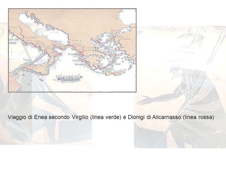 Viaggio di Enea secondo Virgilio (linea verde) e Dionigi di Alicarnasso (linea rossa)