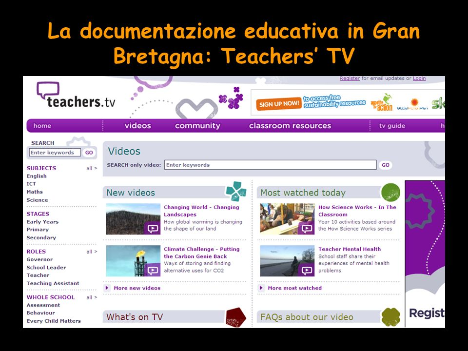 La documentazione educativa in Gran Bretagna: Teachers TV