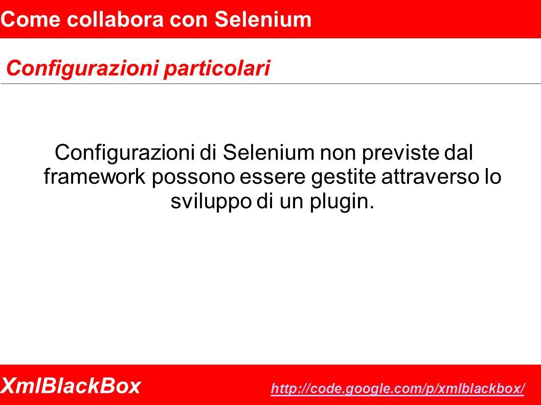 XmlBlackBox http://code.google.com/p/xmlblackbox/ http://code.google.com/p/xmlblackbox/ Come collabora con Selenium Configurazioni particolari Configurazioni di Selenium non previste dal framework possono essere gestite attraverso lo sviluppo di un plugin.