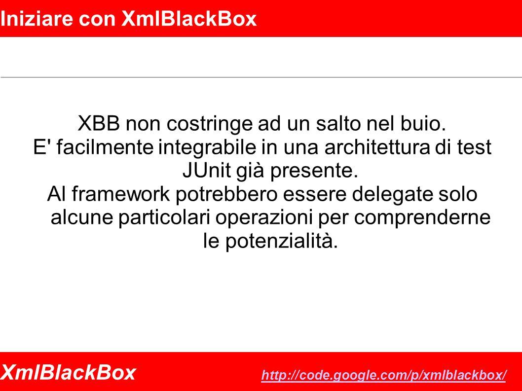 XmlBlackBox http://code.google.com/p/xmlblackbox/ http://code.google.com/p/xmlblackbox/ Iniziare con XmlBlackBox XBB non costringe ad un salto nel buio.