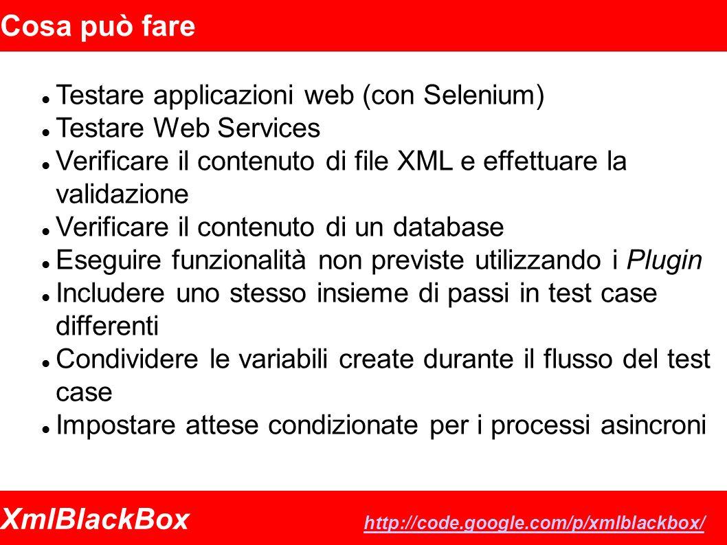 XmlBlackBox http://code.google.com/p/xmlblackbox/ http://code.google.com/p/xmlblackbox/ Cosa può fare Testare applicazioni web (con Selenium) Testare Web Services Verificare il contenuto di file XML e effettuare la validazione Verificare il contenuto di un database Eseguire funzionalità non previste utilizzando i Plugin Includere uno stesso insieme di passi in test case differenti Condividere le variabili create durante il flusso del test case Impostare attese condizionate per i processi asincroni