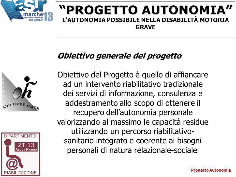 PROGETTO AUTONOMIA LAUTONOMIA POSSIBILE NELLA DISABILITÀ MOTORIA GRAVE Obiettivo generale del progetto Obiettivo del Progetto è quello di affiancare a