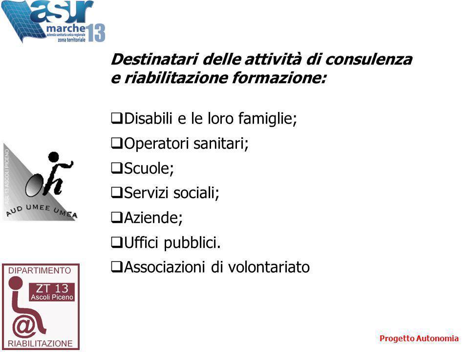 Destinatari delle attività di consulenza e riabilitazione formazione: Disabili e le loro famiglie; Operatori sanitari; Scuole; Servizi sociali; Aziend