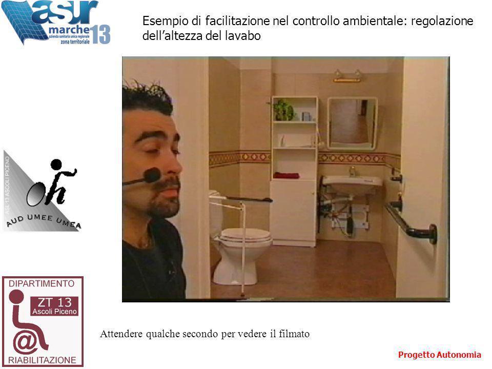 Attendere qualche secondo per vedere il filmato Esempio di facilitazione nel controllo ambientale: regolazione dellaltezza del lavabo Progetto Autonomia