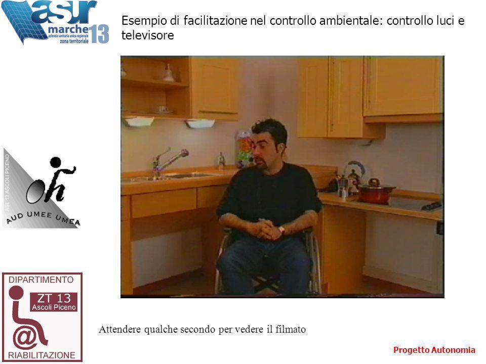 Attendere qualche secondo per vedere il filmato Esempio di facilitazione nel controllo ambientale: controllo luci e televisore Progetto Autonomia