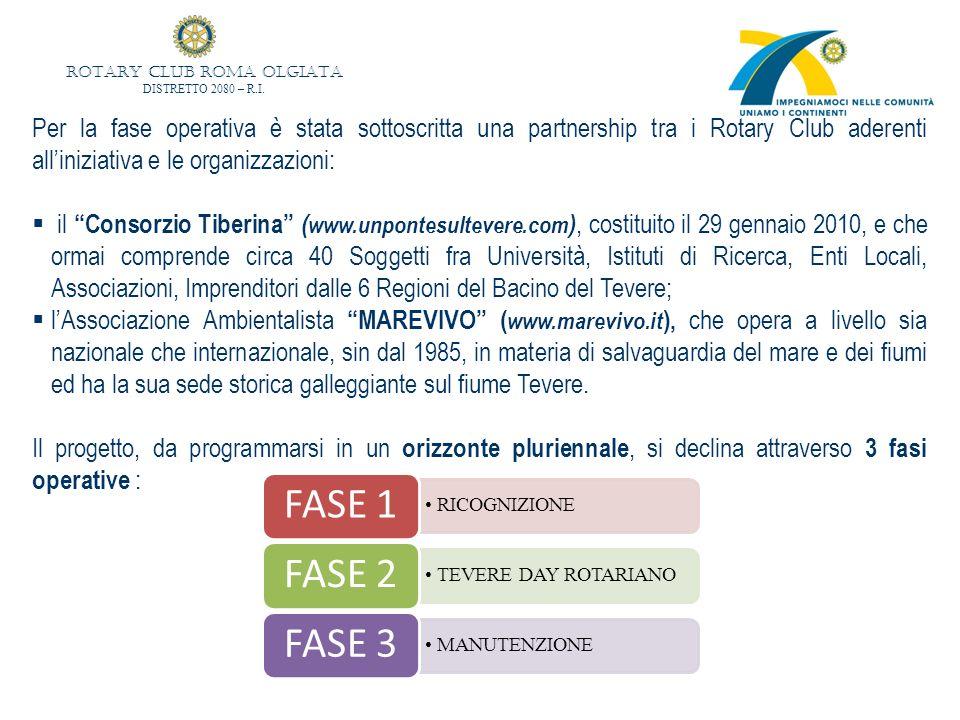 Per la fase operativa è stata sottoscritta una partnership tra i Rotary Club aderenti alliniziativa e le organizzazioni: il Consorzio Tiberina ( www.unpontesultevere.com ), costituito il 29 gennaio 2010, e che ormai comprende circa 40 Soggetti fra Università, Istituti di Ricerca, Enti Locali, Associazioni, Imprenditori dalle 6 Regioni del Bacino del Tevere; lAssociazione Ambientalista MAREVIVO ( www.marevivo.it ), che opera a livello sia nazionale che internazionale, sin dal 1985, in materia di salvaguardia del mare e dei fiumi ed ha la sua sede storica galleggiante sul fiume Tevere.