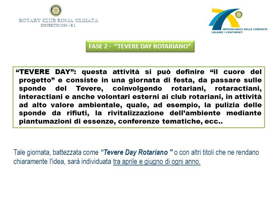 ROTARY CLUB ROMA OLGIATA DISTRETTO 2080 – R.I. FASE 2 - TEVERE DAY ROTARIANO TEVERE DAY: questa attività si può definire il cuore del progetto e consi