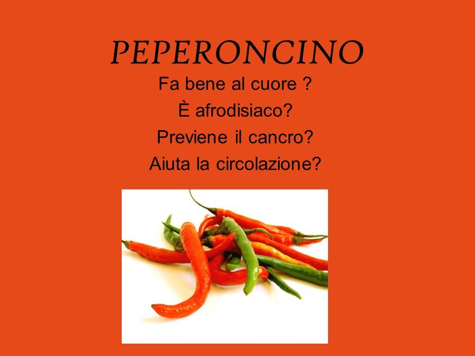 Sito: http://unodeiblog.myblog.it/archive/2009/04/26/il-peperoncino.html Il peperoncino è un toccasana per il nostro organismo è un antifiammatorio naturale,tutto il merito è della capsaicina, il composto che provoca la sensazione di piccante tipica del peperoncino.